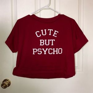 Tops - Cute But Psycho Red Crop Top